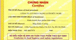 Xin giấy chứng nhận vệ sinh an toàn thực phẩm